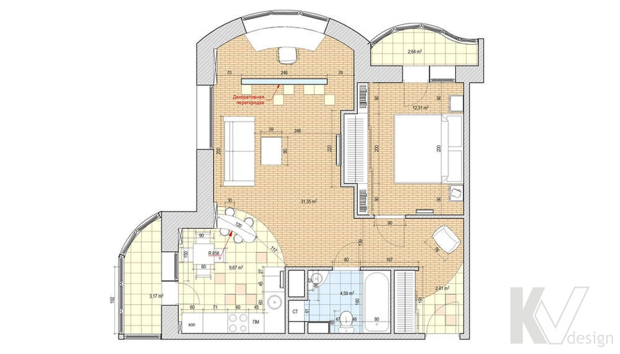 Дизайн квартиры в Красногорске, планировка