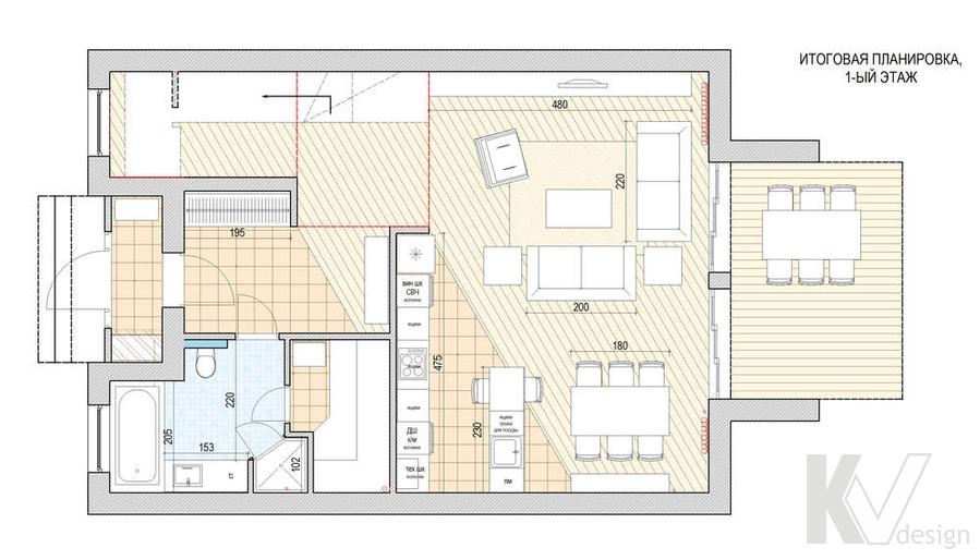 Дизайн таунхауса в п. Жаворонки, планировка-1