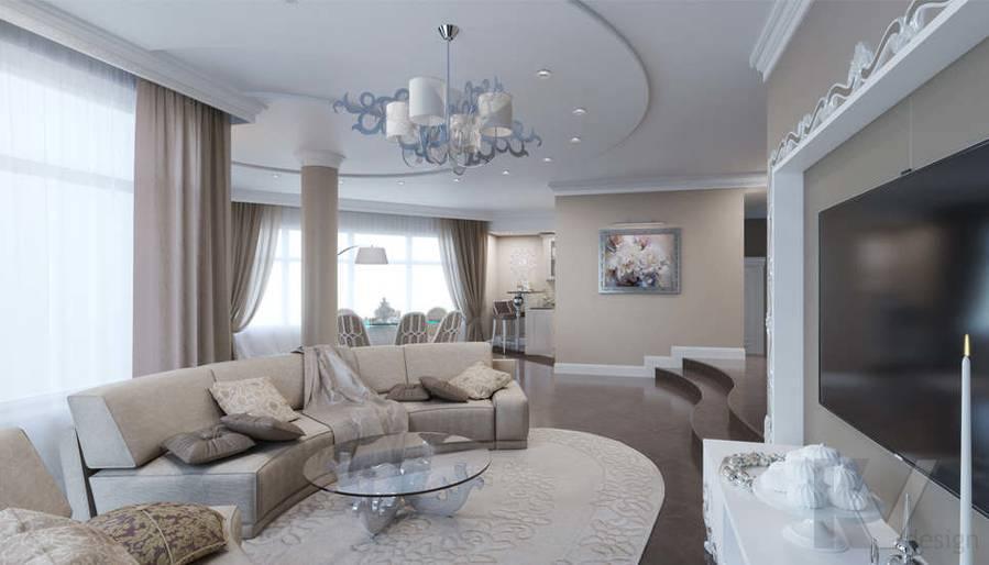 Дизайн гостиной в коттедже, КП Эдельвейс - 3