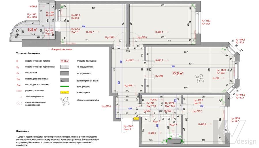 Обмерный план квартиры серии П-3М, Южное Бутово