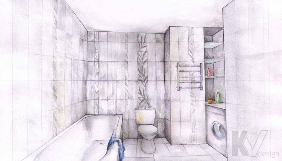 Дизайн квартиры в Красногорске, эскиз ванной