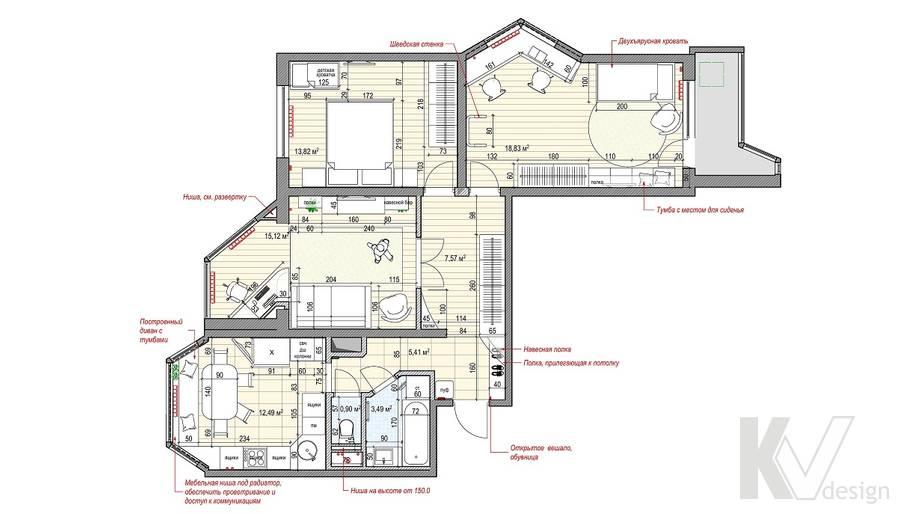 Перепланировка 3-комнатной квартиры П-44Т, Люблино
