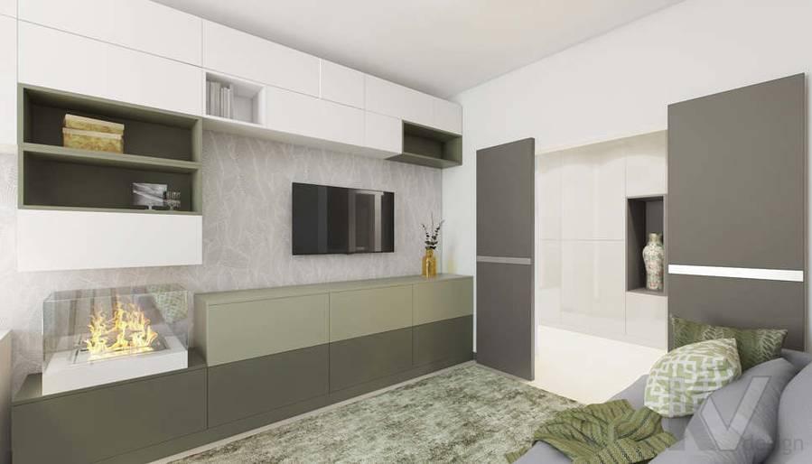 Дизайн гостиной в 3-комнатной квартире П-3М, Новое Ясенево - 6