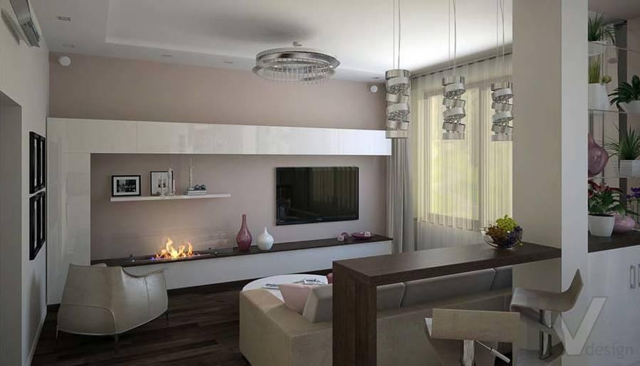 Таунхаус в п. Павлово, дизайн гостиной - 10
