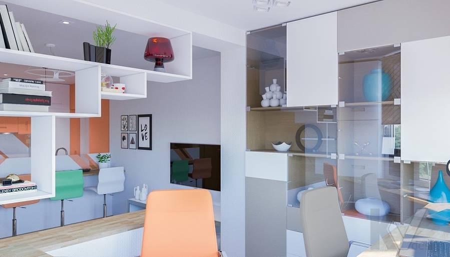 Дизайн кабинета в квартире серии П-44Т, Бутово Парк - 2