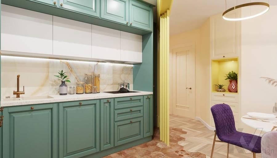 Дизайн гостиной-кухни в ЖК Летний Сад - 3