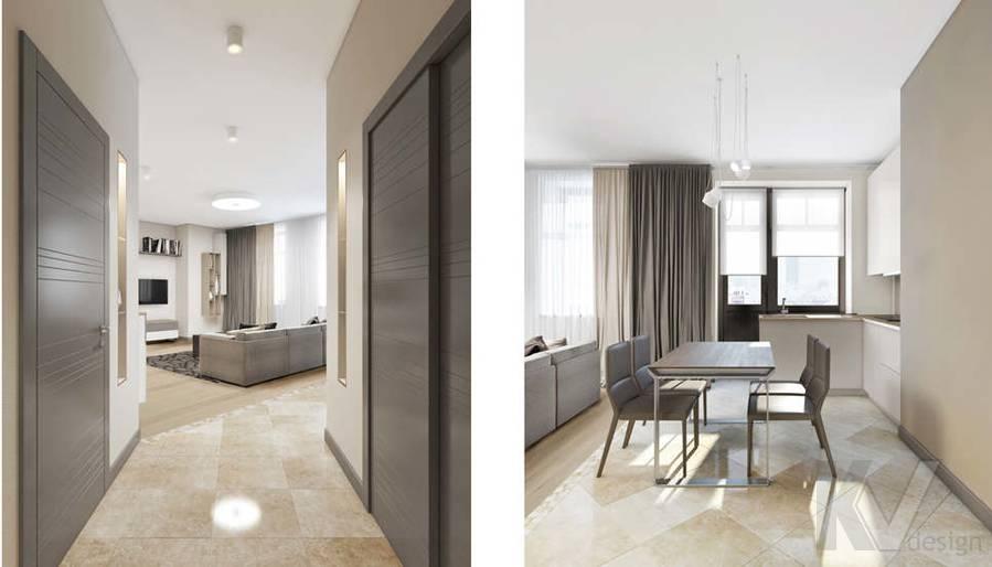 дизайн гостиной-кухни в 3-комн. квартире на Сухаревской - 7