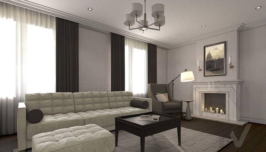 дизайн гостиной-кухни в 3-комнатной квартире, Welton Park - 2
