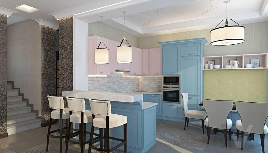 Дизайн гостиной-кухни в трехэтажном доме - 7