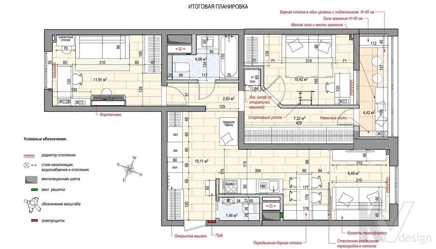 Планировка 2-комнатной квартиры П-111М, Тропарево