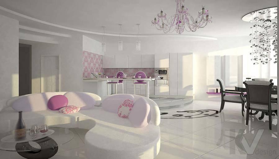 Дизайн трехкомнатной квартиры, ЖК Аэробус, гостиная-3