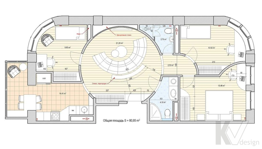 Дизайн квартиры 70 кв.м., план-4