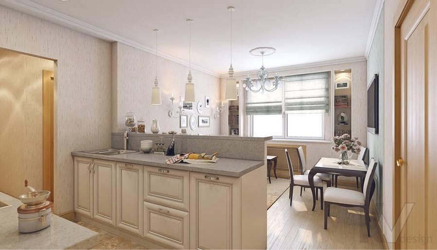 дизайн гостиной-кухни КОПЭ-М-Парус, м. Юго-Западная - 1