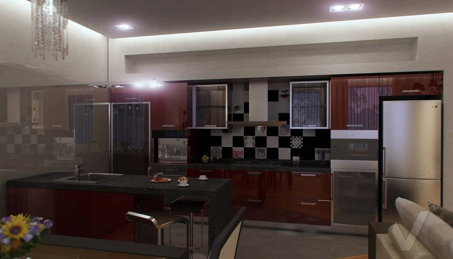 Дизайн таунхауса в п. Жаворонки, кухня-3