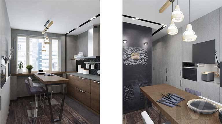 Дизайн кухни в квартире П-44, м. Кузьминки - 3