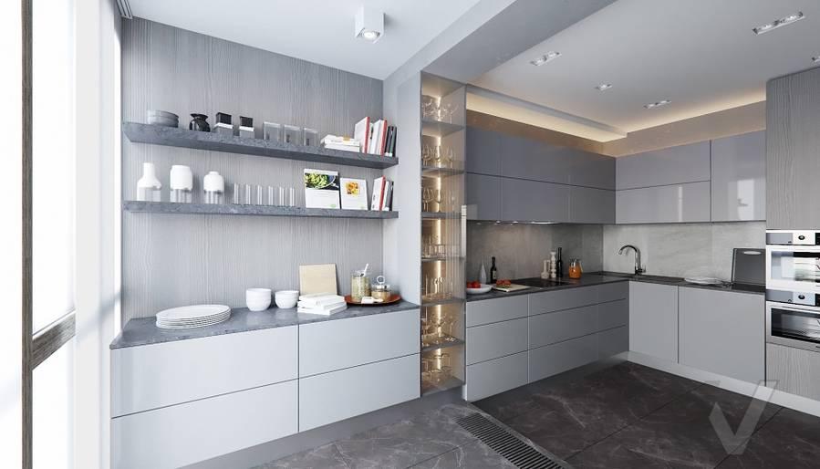 Кухня в проекте объединения квартир, Мытищи - 5