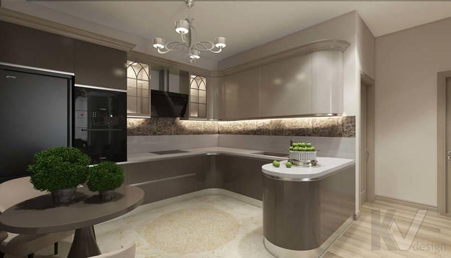 """Дизайн гостиной-кухни в 2-комнатной квартире, ЖК """"Авеню 77"""" - 9"""