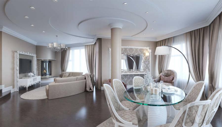 Дизайн столовой-гостиной в коттедже, КП Эдельвейс