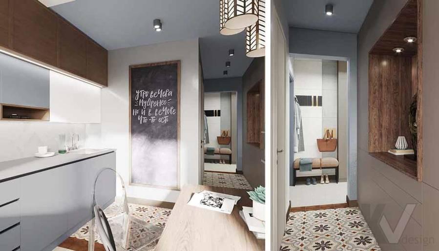 Дизайн кухни в квартире серии П-3М, Южное Бутово - 1