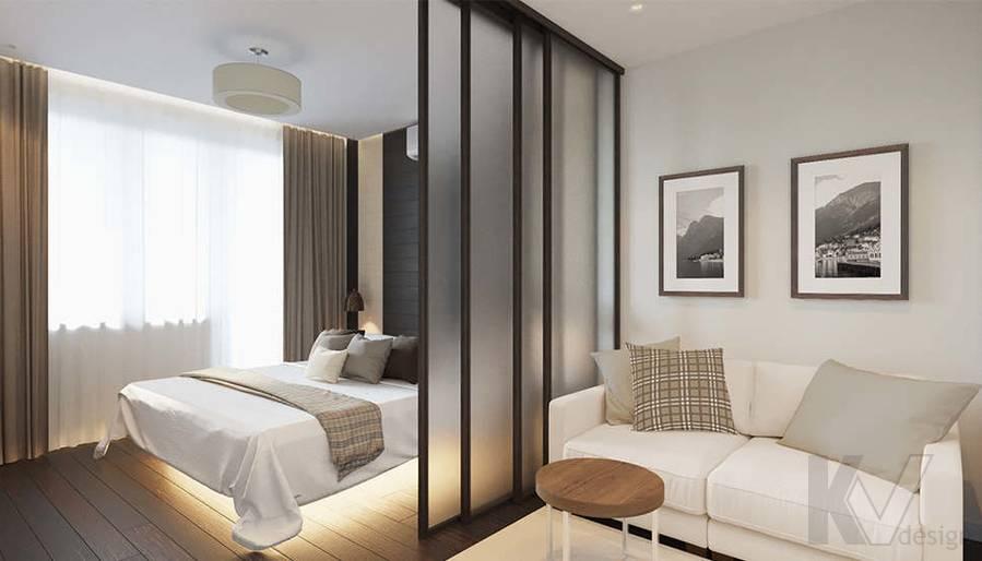 Дизайн гостиной-спальни в 2-комнатной квартире П-44Т, Московский