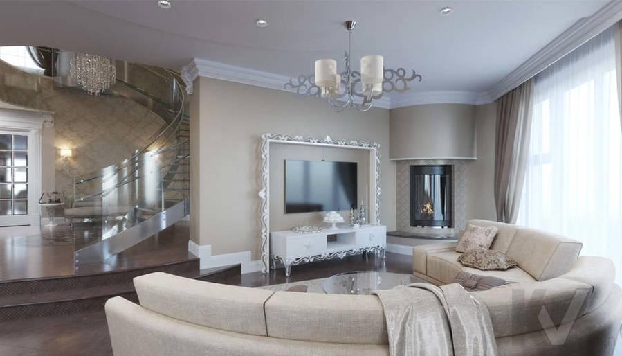Дизайн гостиной в коттедже, КП Эдельвейс - 2