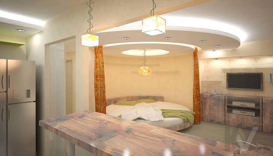3D визуализация гостиной однокомнатной квартиры, ночное освещение