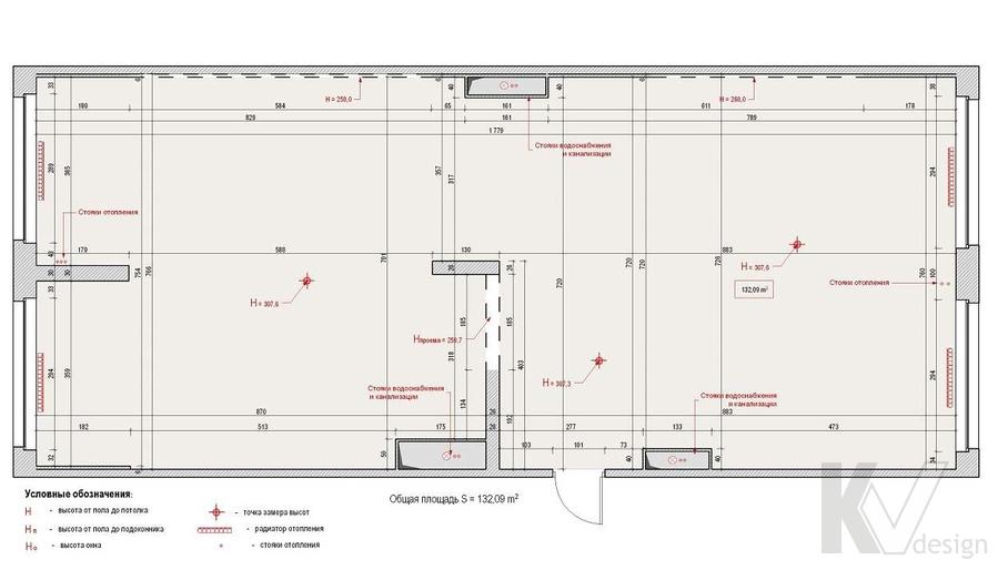 Дизайн квартиры в ЖК Аэробус, обмерный план