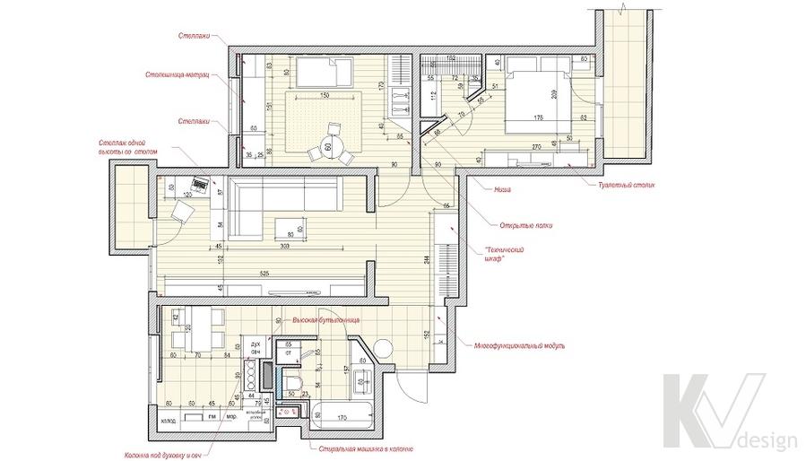 перепланировка квартиры, серия П-3М, Юго-Западная