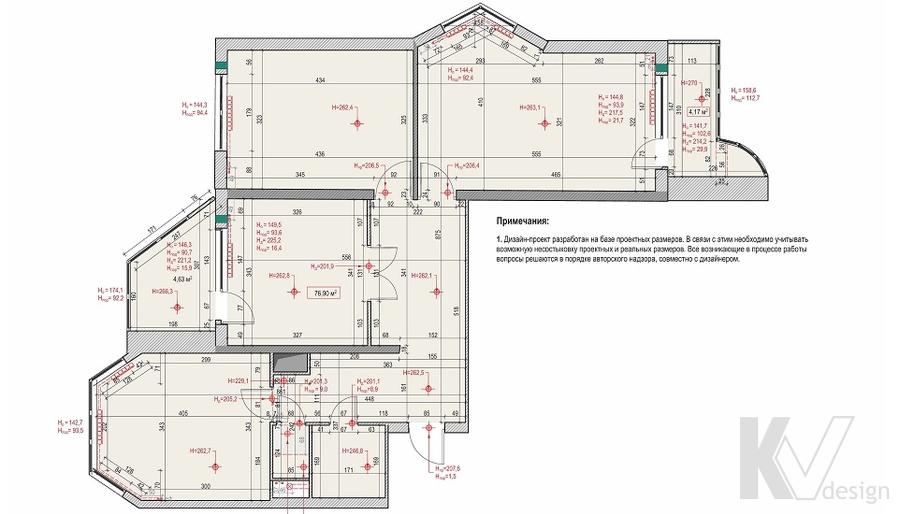 Планировка 3-комнатной квартиры П-44Т, Речной вокзал