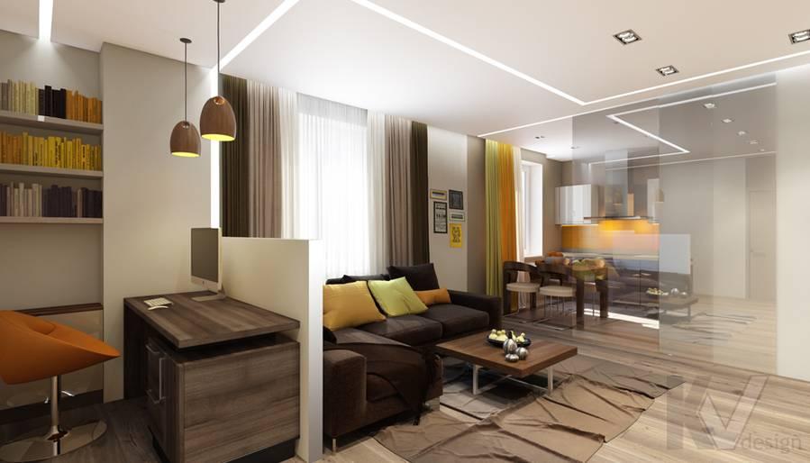 дизайн гостиной в квартире на проспекте Вернадского - 1