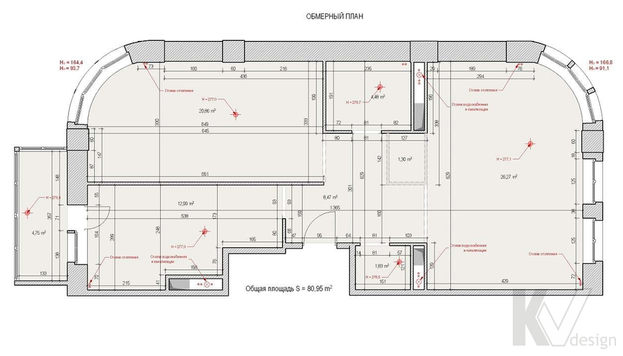 Дизайн квартиры 70 кв.м., обмерный план
