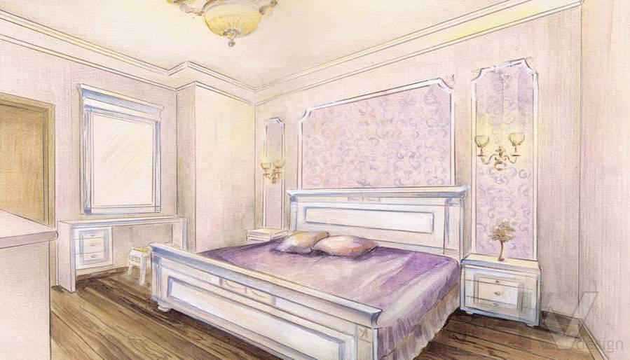 эскиз интерьера спальни, И-155, Мытищи