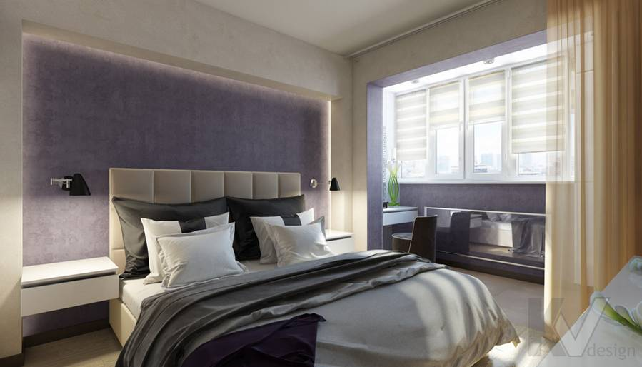 дизайн спальни в 3-комнатной квартире П-44Т, Речной вокзал - 1