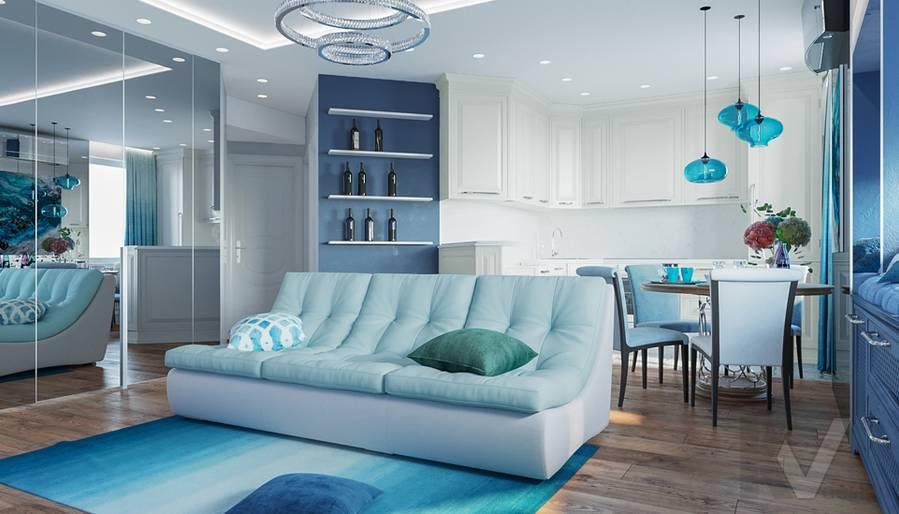 Дизайн гостиной в квартире на Ленинском проспекте - 2