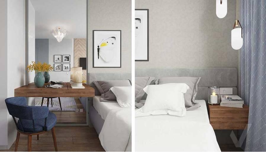 Дизайн спальни в квартире серии П-3М, Южное Бутово - 7