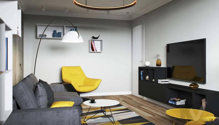 Дизайн гостиной в двухкомнатной квартире, Сходненская - 3