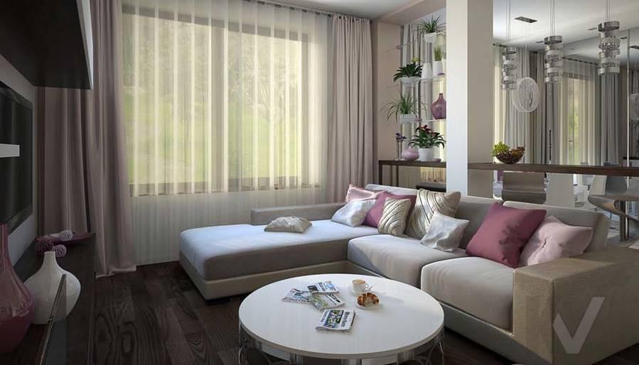 Таунхаус в п. Павлово, дизайн гостиной - 7
