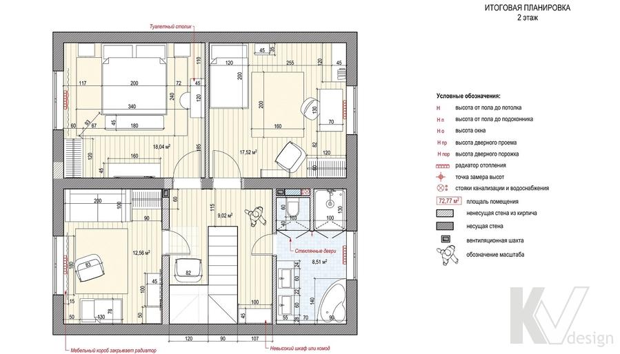 Планировка второго этажа дома, КП Дубровские Зори