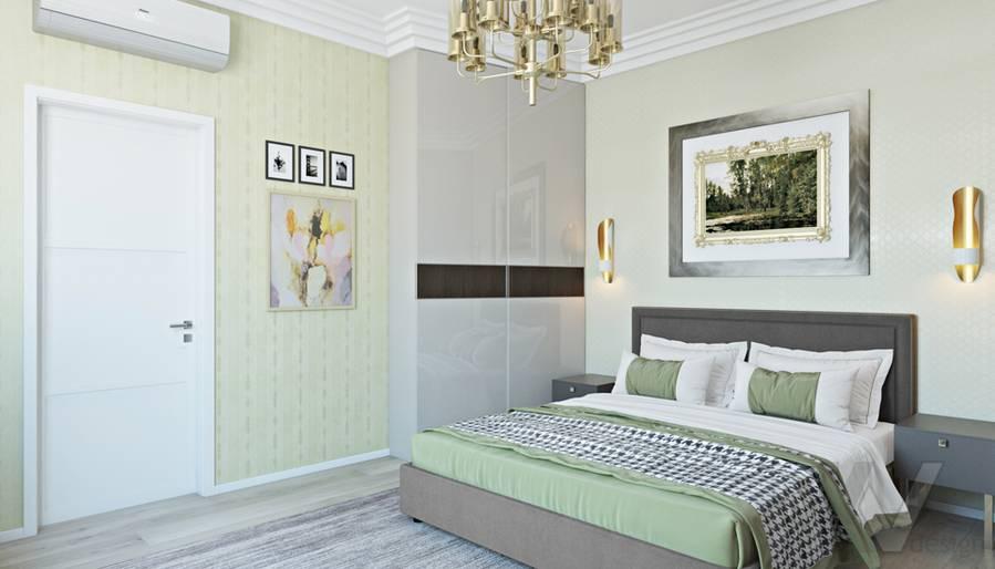 Спальня в двухкомнатной квартире, ЖК Виноградный - 4