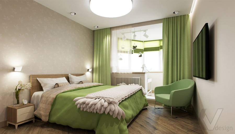 Дизайн спальни в 2-комнатной квартире, Некрасовка Парк - 1