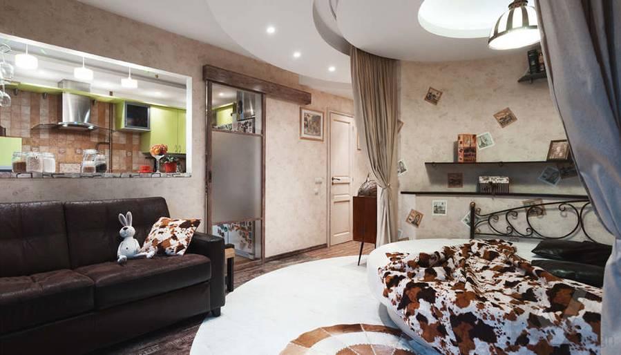 дизайн однокомнатной квартиры - фото гостиной 3