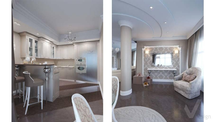 Дизайн кухни-столовой в коттедже, КП Эдельвейс