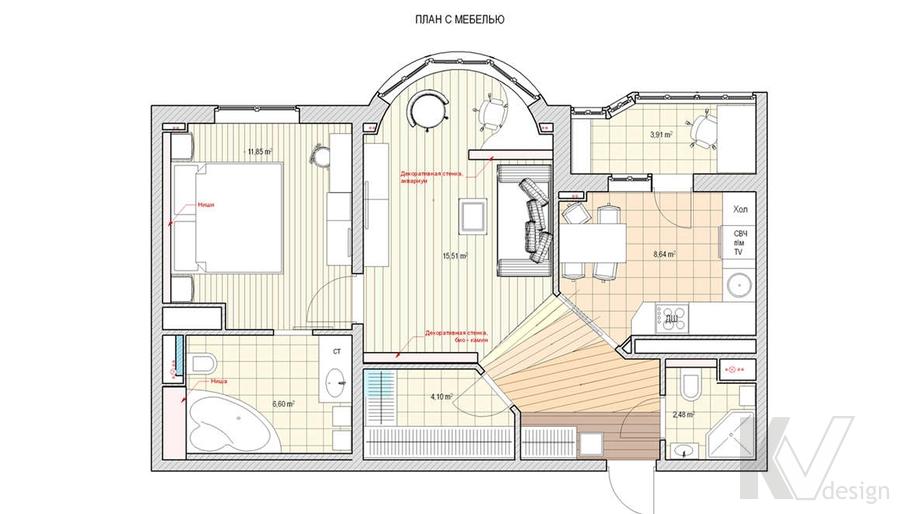 Дизайн квартиры в Марьино, планировка