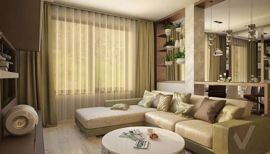 Таунхаус в п. Павлово, дизайн гостиной - 4
