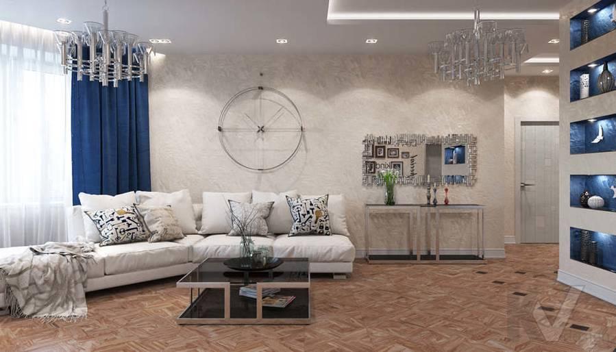 дизайн гостиной в 3-комнатной квартире 100 кв.м., Реутов - 2