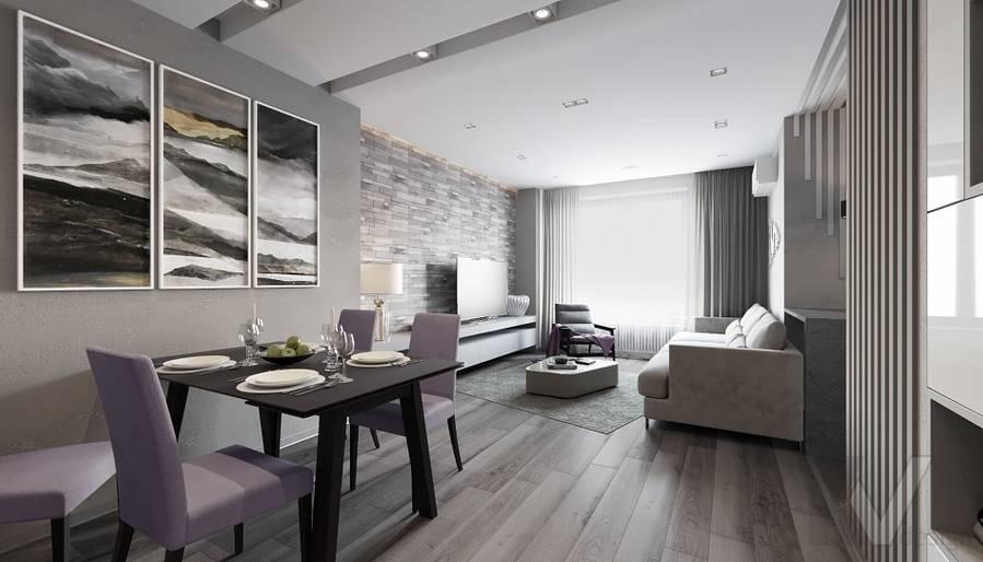 Гостиная в проекте объединения квартир, Мытищи - 1