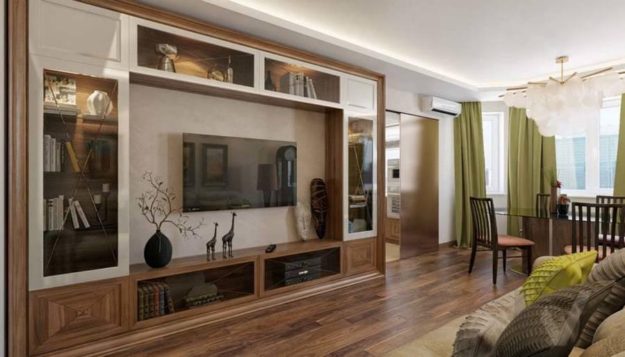дизайн гостиной в четырехкомнатной квартире П-3М - 1