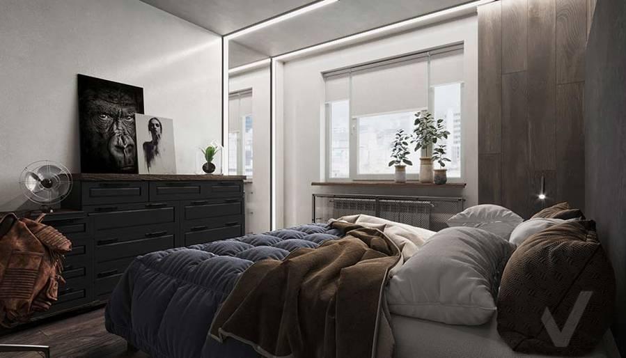 Дизайн спальни в квартире П-44, м. Кузьминки - 2