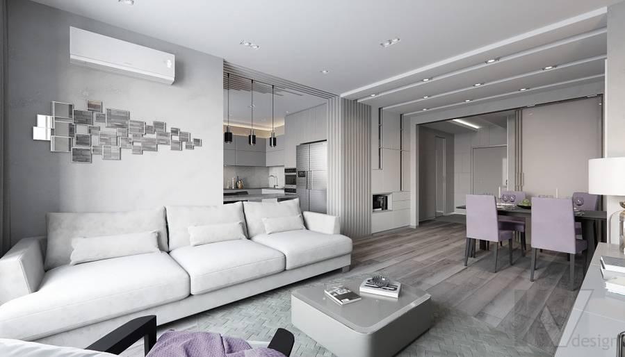Гостиная в проекте объединения квартир, Мытищи - 3