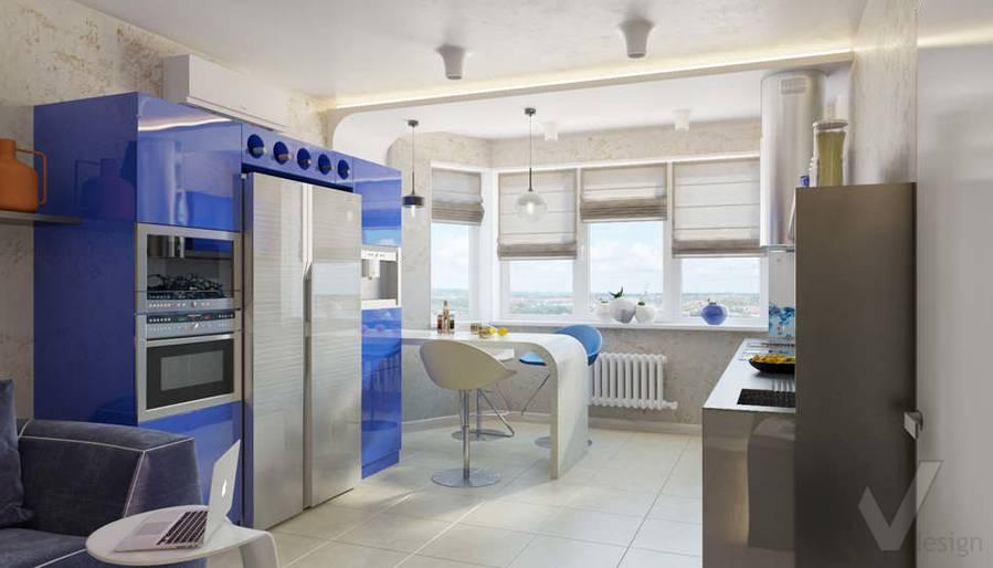 дизайн гостиной-кухни в 3-комн. квартире, ЖК Некрасовка Парк - 1
